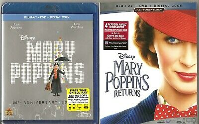DISNEY - Mary Poppins + Mary Poppins Returns + Lithograph - BLU-RAY + DVD - NEW