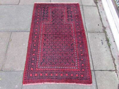 Old Hand Made Traditional Persian Rug Oriental Wool Red Blue Prayer Rug 137x86cm