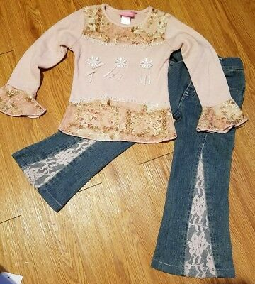 GIRLS SIZE 4 Boutique outfit Denim jeans PANTS sweater top pink lace Chit Chat