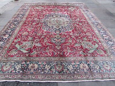 Old Hand Made Traditional Persian Oriental Red Blue Wool Large Carpet 388x308cm