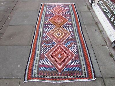 Old Traditional Hand Made Persian Oriental Cotton Wool Blue Kilim 222x106cm