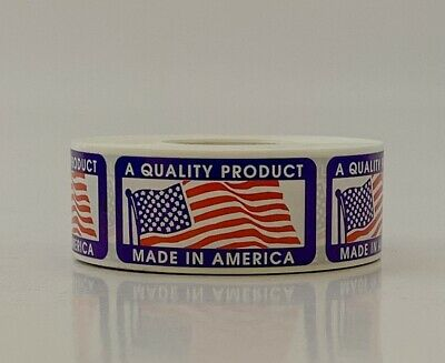 "1"" x 2"" Made In America Sticker USA American Flag Label 500/roll"