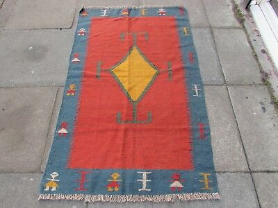 Old Traditional Hand Made Persian Oriental Wool Red Blue Kilim Rug 157x98cm