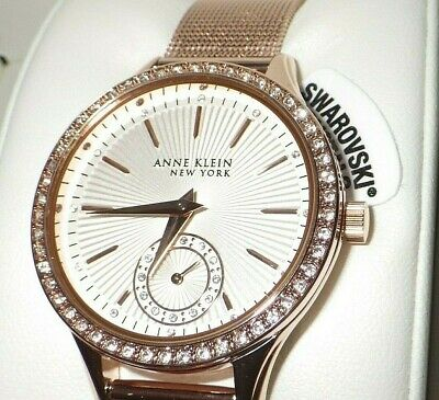 Anne Klein Women's 12/2306SVRG Crystal Accented Rose Gold Tone Mesh Band Watch