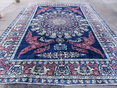 Fine Old Hand Made Traditional Persian Oriental Blue Wool Large Carpet 390x300cm