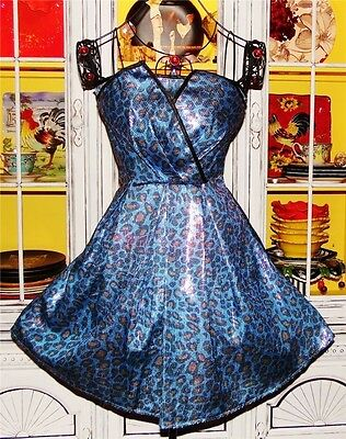 Betsey Johnson VINTAGE Dress LEOPARD Blue SEQUIN Strapless FIT & FLARE Party 4 S