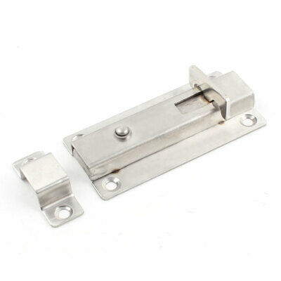 "Cabinet Door Cupboard 4"" Length Press Open Button Metal Latch Bolt Silver Tone"