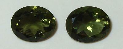 5.39ct Pair Faceted TOP QUALITY Natural Czechoslovakia Moldavite Oval Cut 11x9mm