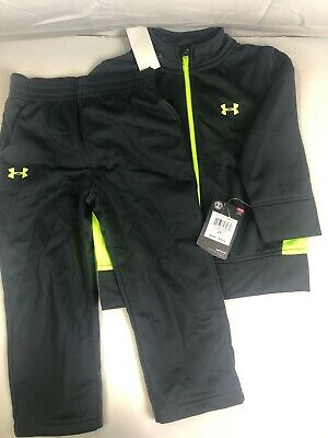 Under Armour Toddler Boys' Zip Jacket and Pant Set, Gray/lime green, 2T