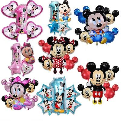 Disney Mickey Minnie Mouse Birthday Balloon Foil Latex 1st Birthday Baby Shower