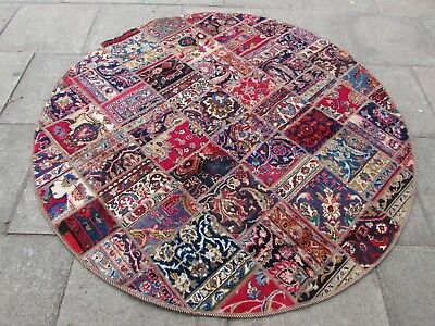Traditional Hand Made Persian Oriental Patchwork Wool Red Round Rug 199x199cm