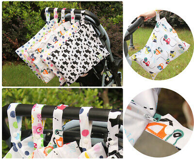 Wet Dry Bag Baby Cloth Diaper Nappy Bag Reusable With One or Two Zipper Pockets