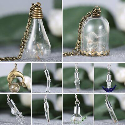 Wish Nature Real Dandelion Seeds Dried Flower Glass Bottle Pendant Necklaces Hot