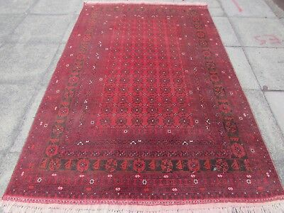 Fine Old Hand Made Traditional Afghan Oriental Wool Red Large Rug 242x158cm