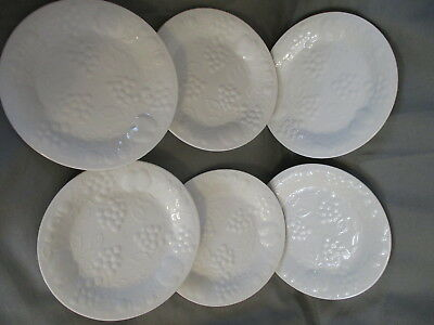 "GIBSON FULLY EMBOSSED GRAPE & APPLE  Design-  6 Round 7-3/4"" SALAD PLATES -White"