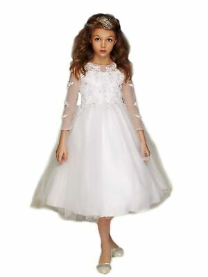 ce5e69c55e Petite Adele Big Girls White Embroidered Hi-Low Mayra Communion Dress 8