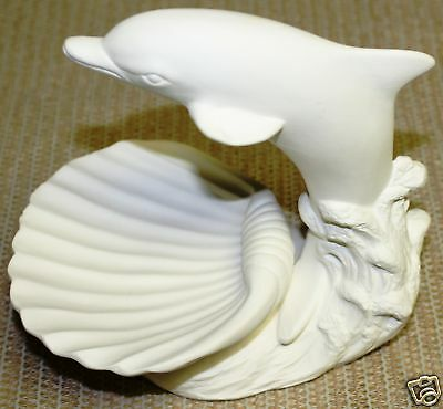 Ceramic Bisque Dolphin Soap Dish Scioto Mold 3844 U-Paint Ready To Paint