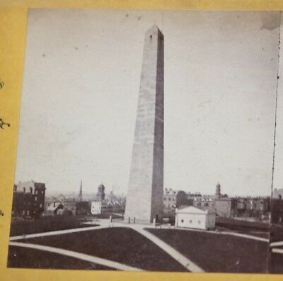 Charlestown MA Bunker Hill Monument - Antique Stereoview by Joseph L. Bates