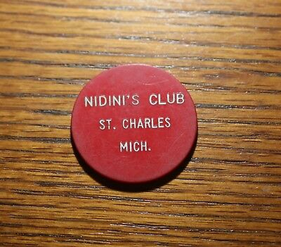 St. Charles Michigan - Nidini's Club Vintage 25 Cents Red Plastic Trade Token