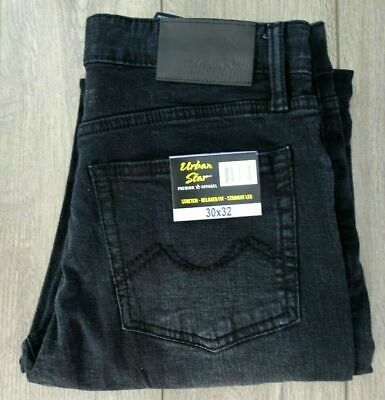 New! Urban Star Men's Jeans, Relaxed Fit, Stretch Straight Leg, Black  30 x 32