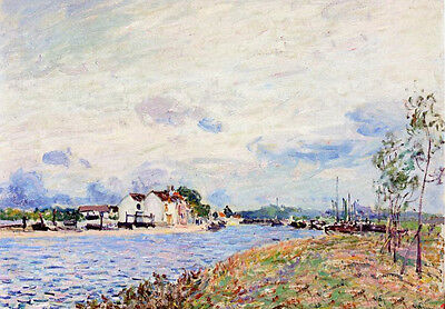 Oil painting Alfred Sisley - The Mouth of the Loing at Saint-Mammes no framed