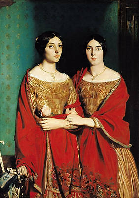 Hand painted oil painting noblelady portraits nice young women twins in red