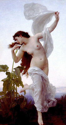 """Oil painting Bouguereau - Dawn running young beauty girl with Calla flowers 36"""""""
