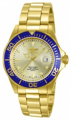 Invicta 14124 Men's Pro Diver Gold Tone Dial Gold Plated Stainless Steel Watch