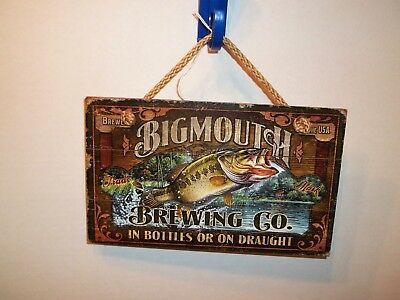 Big Mouth Brewing Co Bass Fish Wooden Hanging Plaque-Man Cave-Cabin-Beer