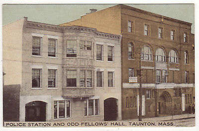 TAUNTON MASSACHUSETTS PC Postcard POLICE STATION IOOF Odd Fellows Hall MASS MA
