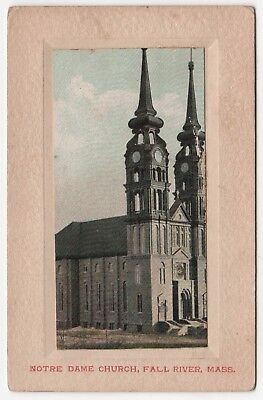 Rare FALL RIVER MASSACHUSETTS PC Postcard NOTRE DAME CHURCH Catholic MASS MA