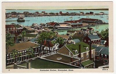 NANTUCKET HARBOR Massachusetts PC Postcard ISLAND Mass MA 1954 Pier NEW BEDFORD