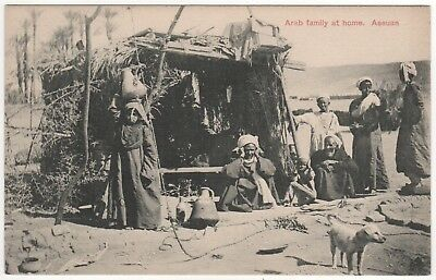 ASWAN EGYPT PC Postcard ASSUAN Arab Family at Home ARABS Africa AFRICAN Egyptian