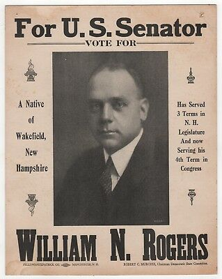 1936 NEW HAMPSHIRE Political Poster WILLIAM ROGERS US SENATE Senator CONGRESS nh