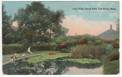 FALL RIVER MASSACHUSETTS PC Postcard LILLY POND North Park MASS MA Gardens