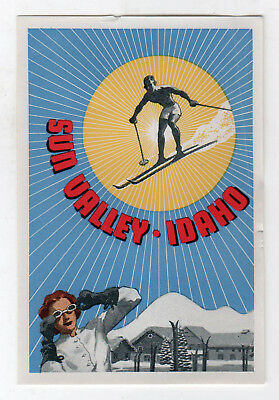 ORIGINAL Vintage SUN VALLEY IDAHO Decal SKIING Ski SKIER Travel TOURISM ID