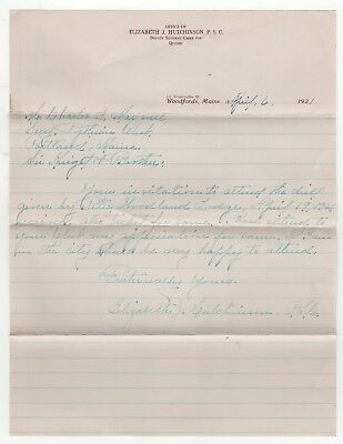 1921 DEPUTY SUPREME CHIEF FOR QUEBEC Canada LETTER Woodfords Maine PORTLAND ME