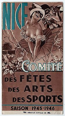 1945 NICE FRANCE Tourism BROCHURE French SPORTS Arts FETES Riviera ILLUSTRATED