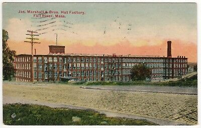 FALL RIVER MASSACHUSETTS PC Postcard JAMES MARSHALL & BROTHERS HAT FACTORY Mill