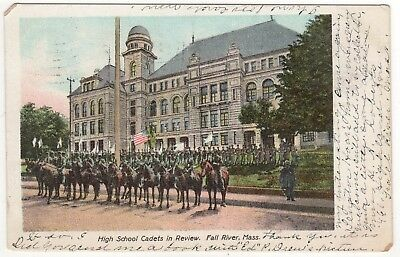 1906 FALL RIVER MASSACHUSETTS PC Postcard HIGH SCHOOL CADETS IN REVIEW Mass UDB