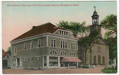 STOUGHTON MASSACHUSETTS PC Postcard ODD FELLOWS IOOF Universalist Church MASS MA