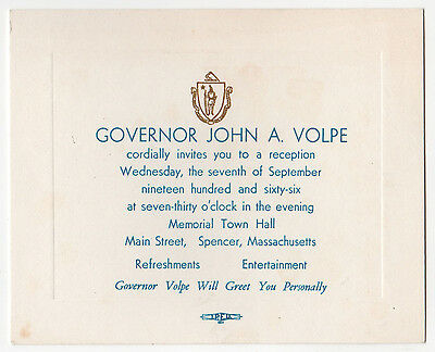 1966 MASSACHUSETTS Governor John Volpe POLITICAL Event Ticket SPENCER Mass MA