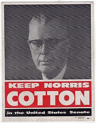 1950s NORRIS COTTON New Hampshire US Senate SENATOR Political Poster NH Lebanon