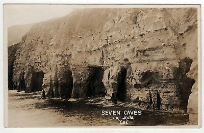LA JOLLA CALIFORNIA RPPC Real Photo Postcard SEVEN CAVES Pacific Ocean SAN DIEGO