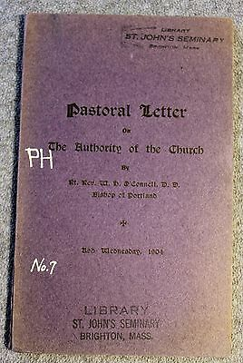 1904 PASTORAL LETTER AUTHORITY OF CATHOLIC CHURCH Cardinal William O'Connell