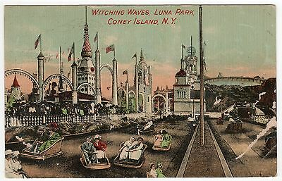 CONEY ISLAND PC Postcard NEW YORK CITY Amusement Park LUNA PARK Witching Waves
