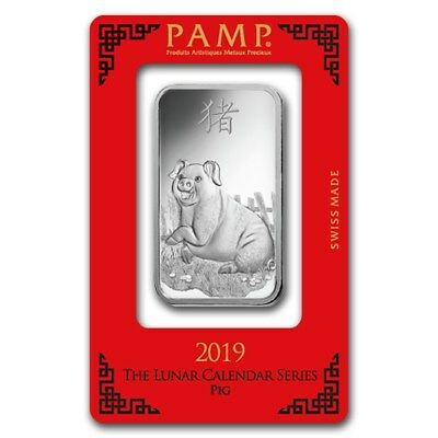 2019 ~ 1~OUNCE ~.999 SILVER~ YEAR of the PIG ~ PAMP SUISSE ~ SEALED BAR ~ $45.88