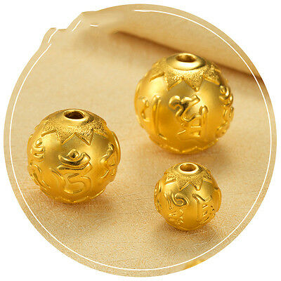 1pcs New Real 24K Yellow Gold Pendant Man Woman's 3D Lucky Maxim DIY Bead/ 10mm