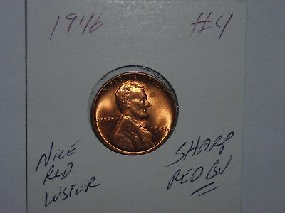 wheat penny 1946 GEM RED BU 1946-P LINCOLN CENT LOT #4 SHARP UNC RED LUSTER