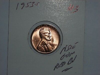 wheat penny 1953S LINCOLN CENT 1953-S GEM RED BU LOT #3 SHARP RED UNC LUSTER